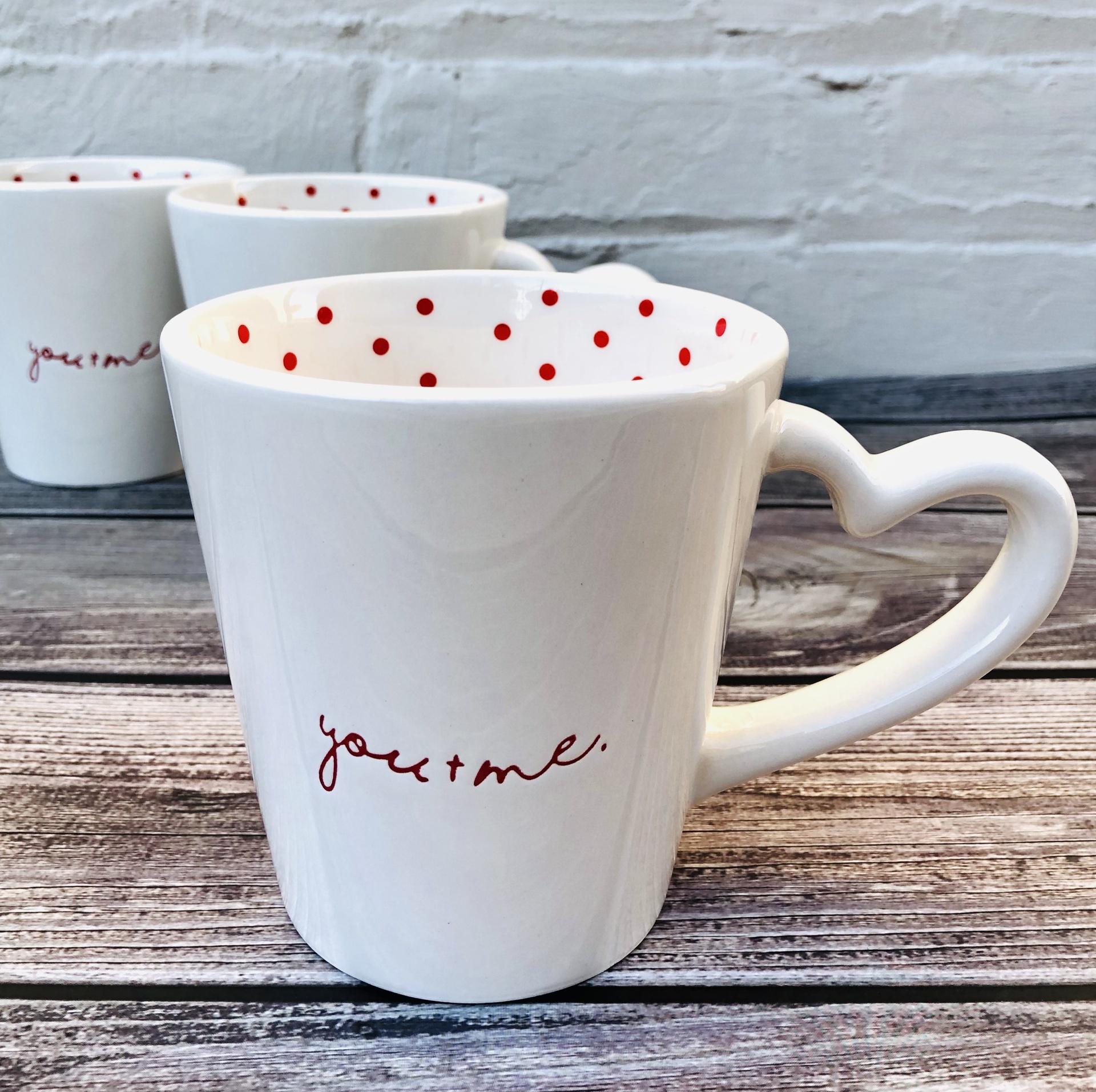 Romance Mug with Heart Handle--CHOOSE DESIGN