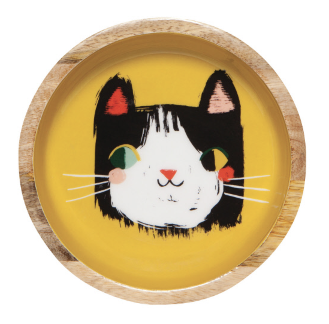 "Meow Meow: Shallow Mangowood Bowl, 6"""