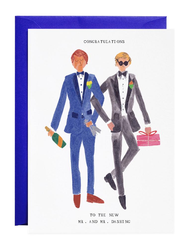 Mr & Mr Dashing, Blank Greeting Card