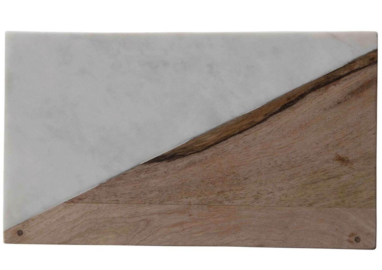 "Marble & Mango Wood Board with Brass Feet, 14""x8"""