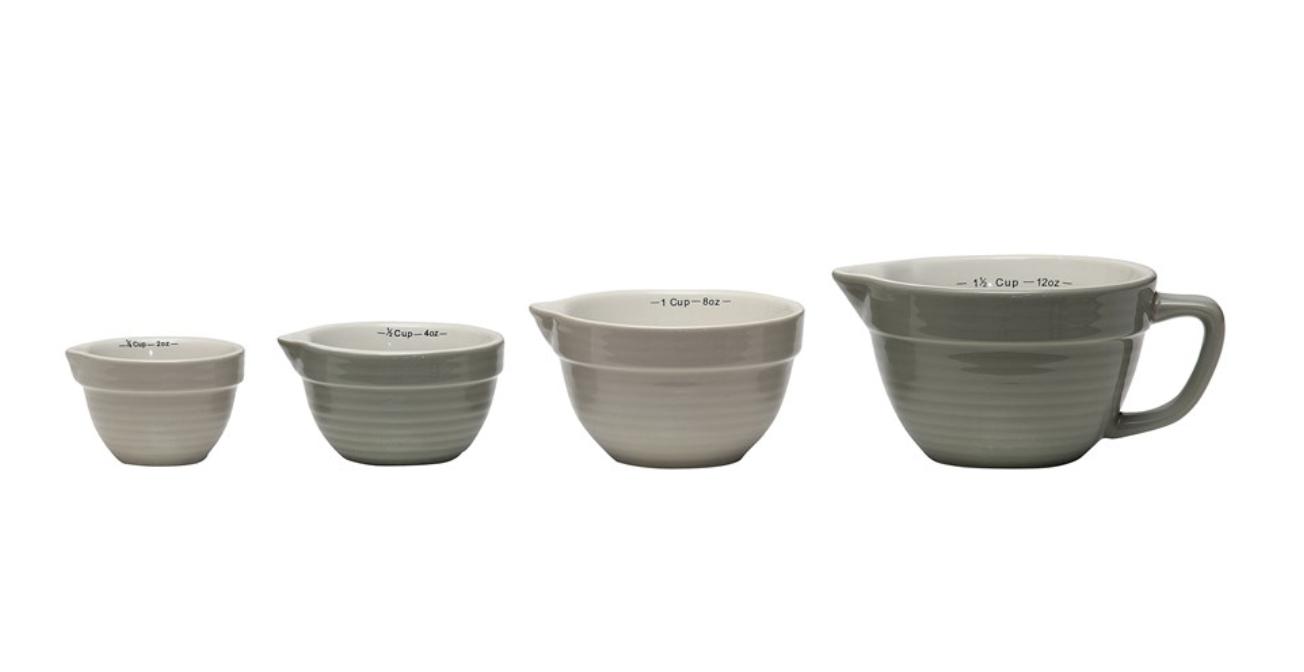 Stoneware Batter Bowl Shaped Measuring Cups, set/4