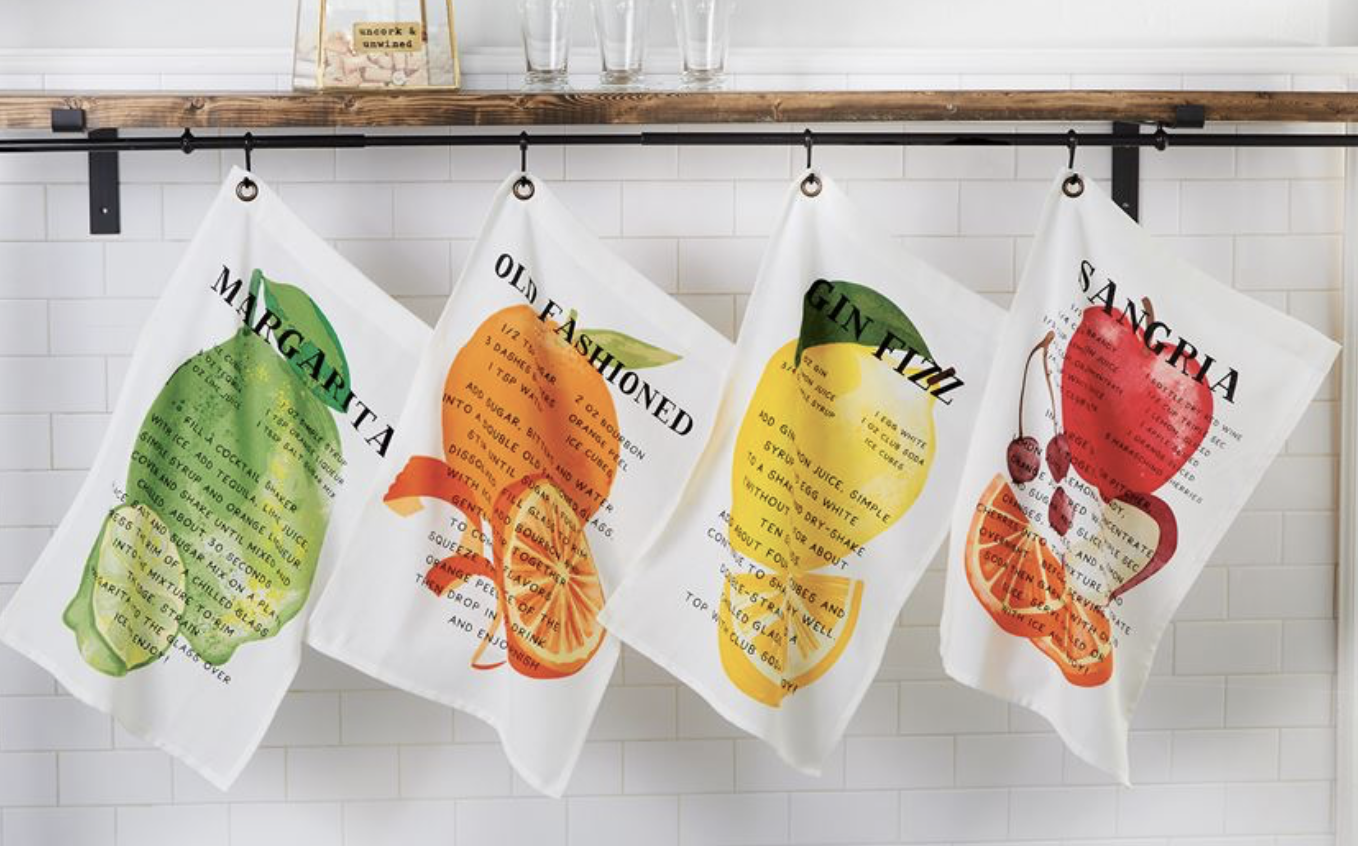 Cocktail Recipe Bar Towel with Hanging Grommet--CHOOSE RECIPE