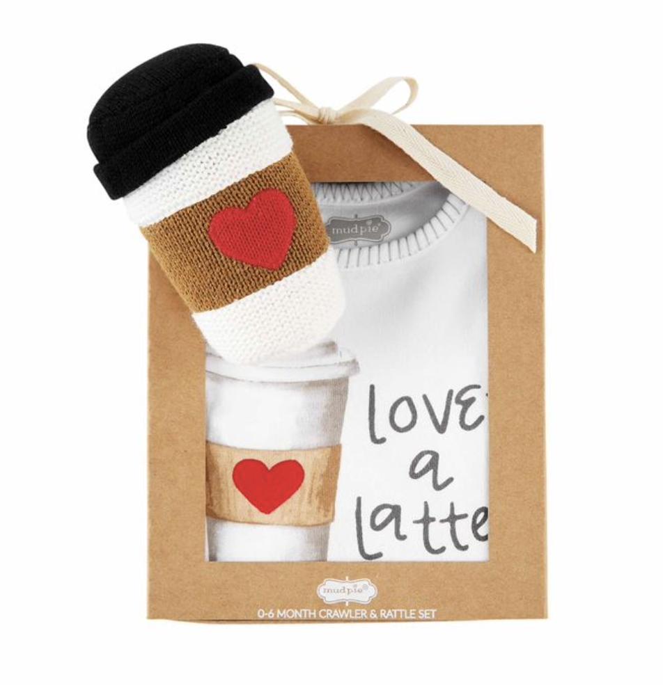 Latte: Onesie & Rattle Set, 0-6mos