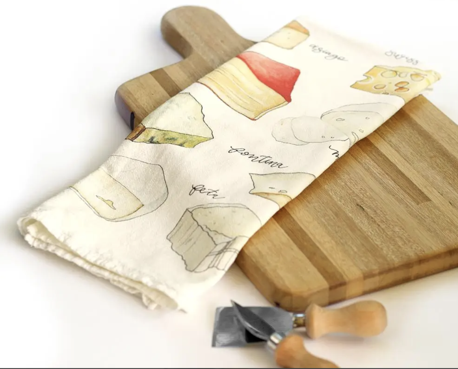 Cheeses Honey Brush Design Tea Towel