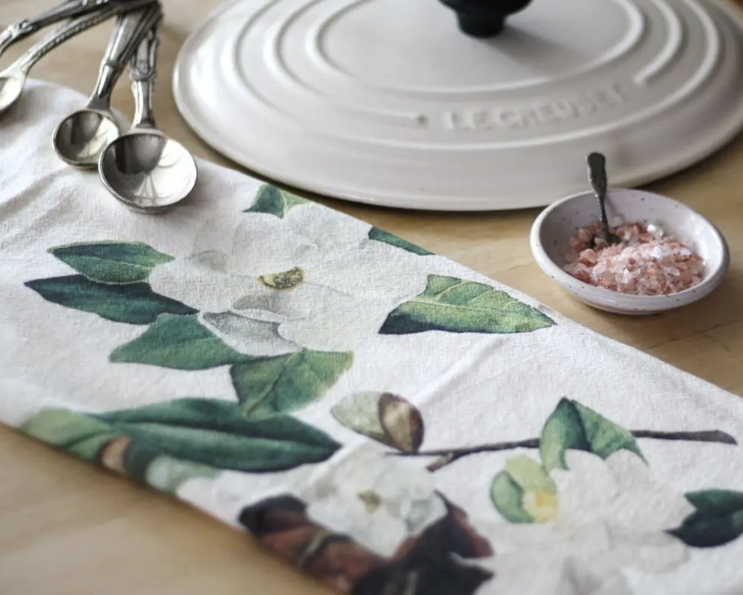 Magnolia Honey Brush Design Tea Towel