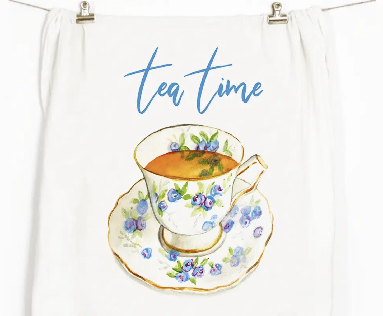 """Tea Time"" Honey Brush Design Tea Towel"