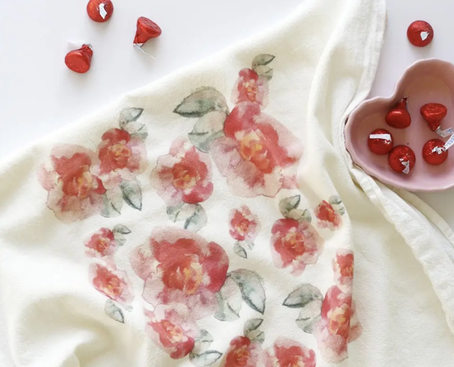Pink Flowers Honey Brush Design Tea Towel