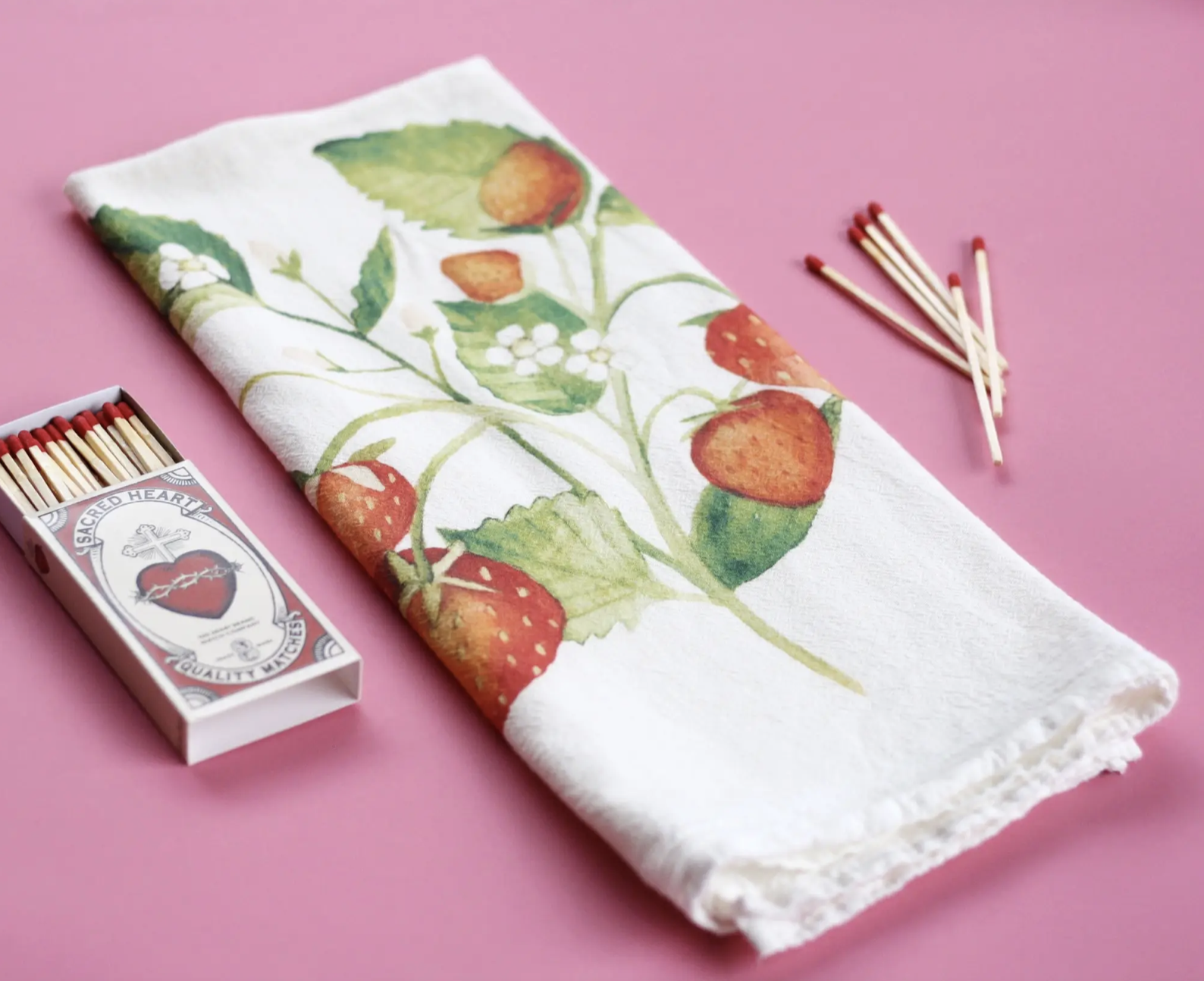 Strawberries Honey Brush Design Tea Towel