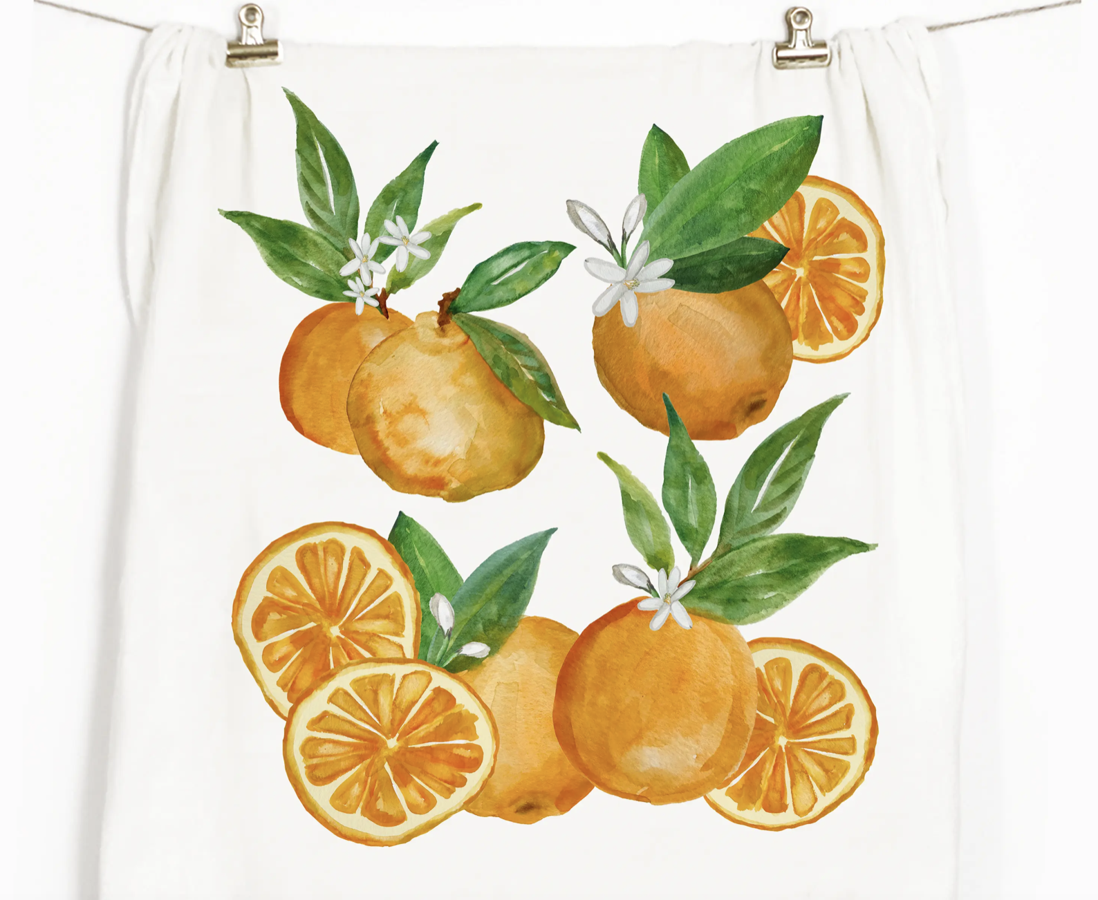 Oranges Honey Brush Design Tea Towel