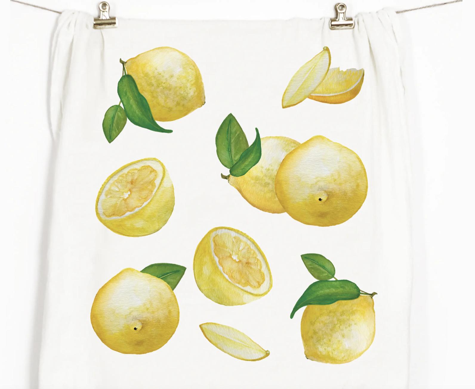 Lemons Honey Brush Design Tea Towel