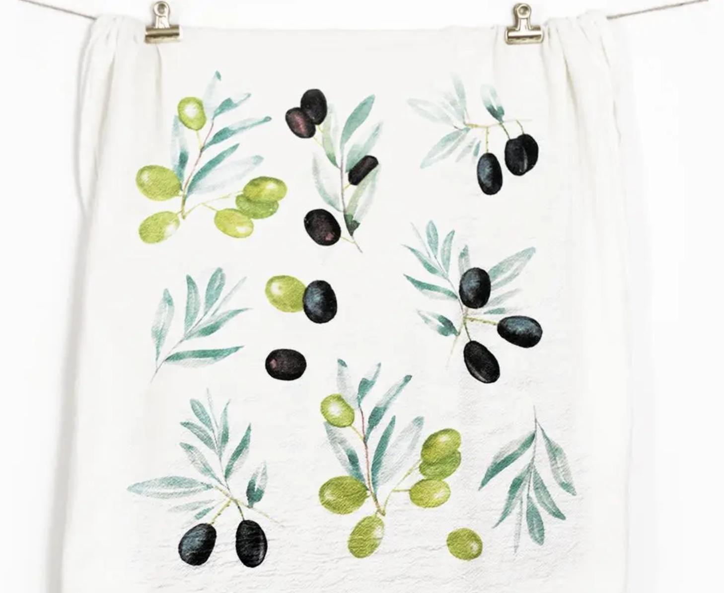 Olives Honey Brush Design Tea Towel