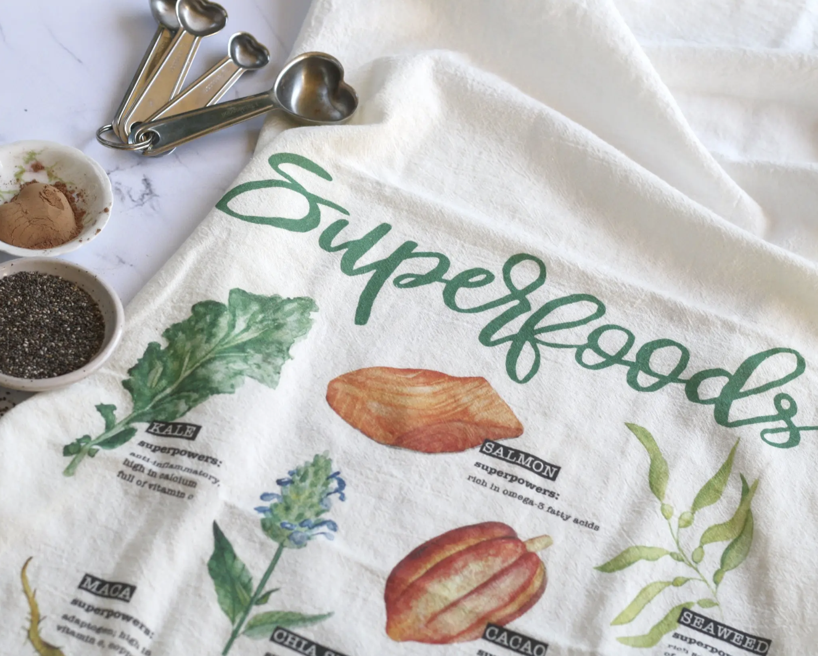 """Superfoods"" Honey Brush Design Tea Towel"