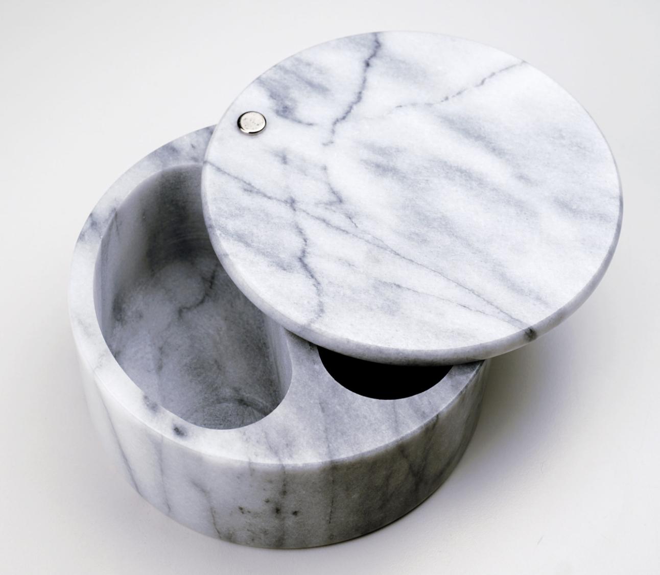 White Marble Swivel Top Salt Box