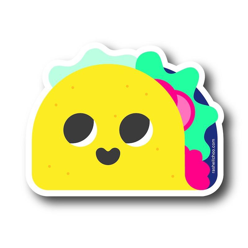 "Happy Taco Vinyl Sticker, 3""x2.5"""