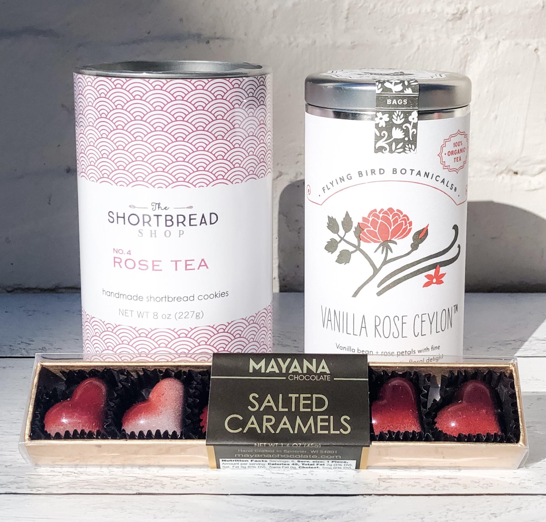 Roses Gift Set: Rose Tea Shortbread + Vanilla Rose Ceylon Tea + Salted Caramel Hearts