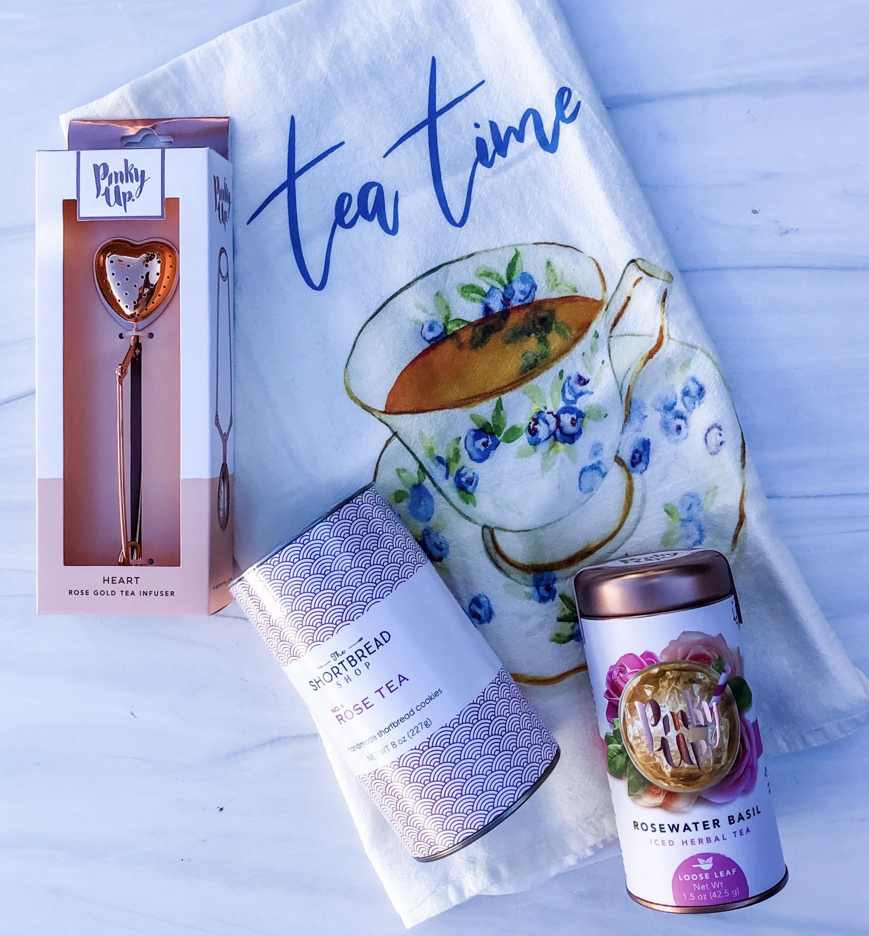 Tea Time Gift Set: Tea Time Tea Towel + Rose Tea Shortbread + Rosewater Basil Iced Herbal Tea + Heart Rose Gold Tea Infuser