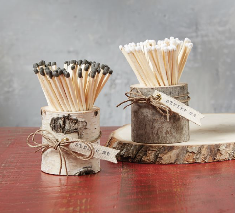 Matches in Wood Pot, Brown Bark or White Birch