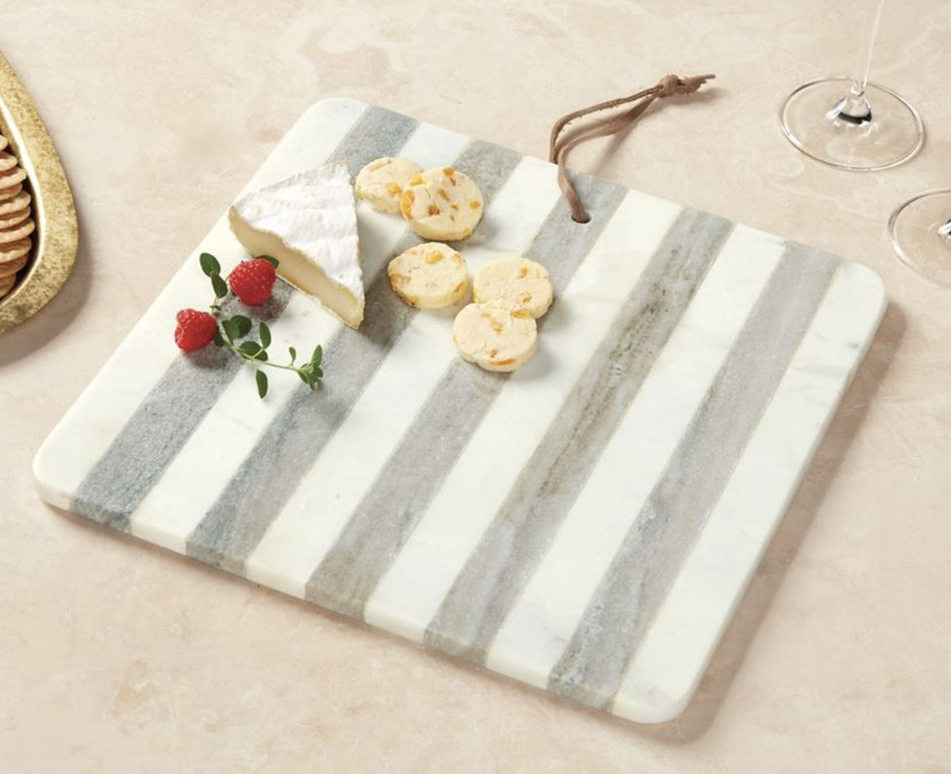 """Grey & White Striped Marble Board, 11""""x11""""--CANNOT BE SHIPPED; LOCAL PICK UP OR DELIVERY"""