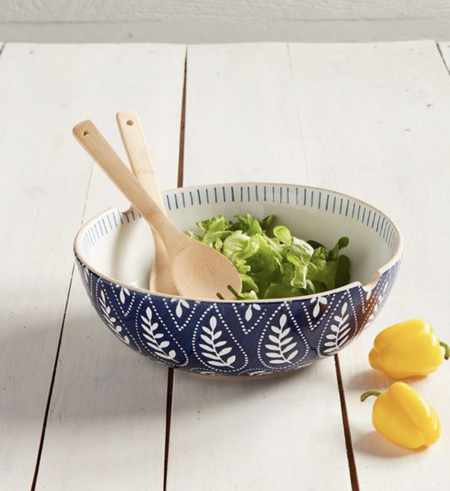 Indigo Serving Bowl Set with Wooden Utensils--CANNOT BE SHIPPED; LOCAL PICK UP OR DELIVERY ONLY2