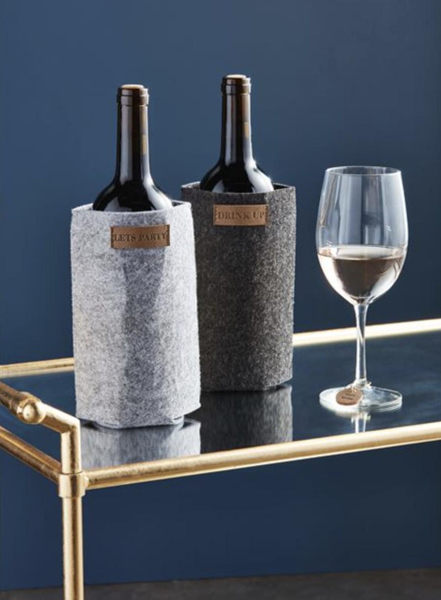 Felt Wine Cozy & Charm Set--CHOOSE COLOR