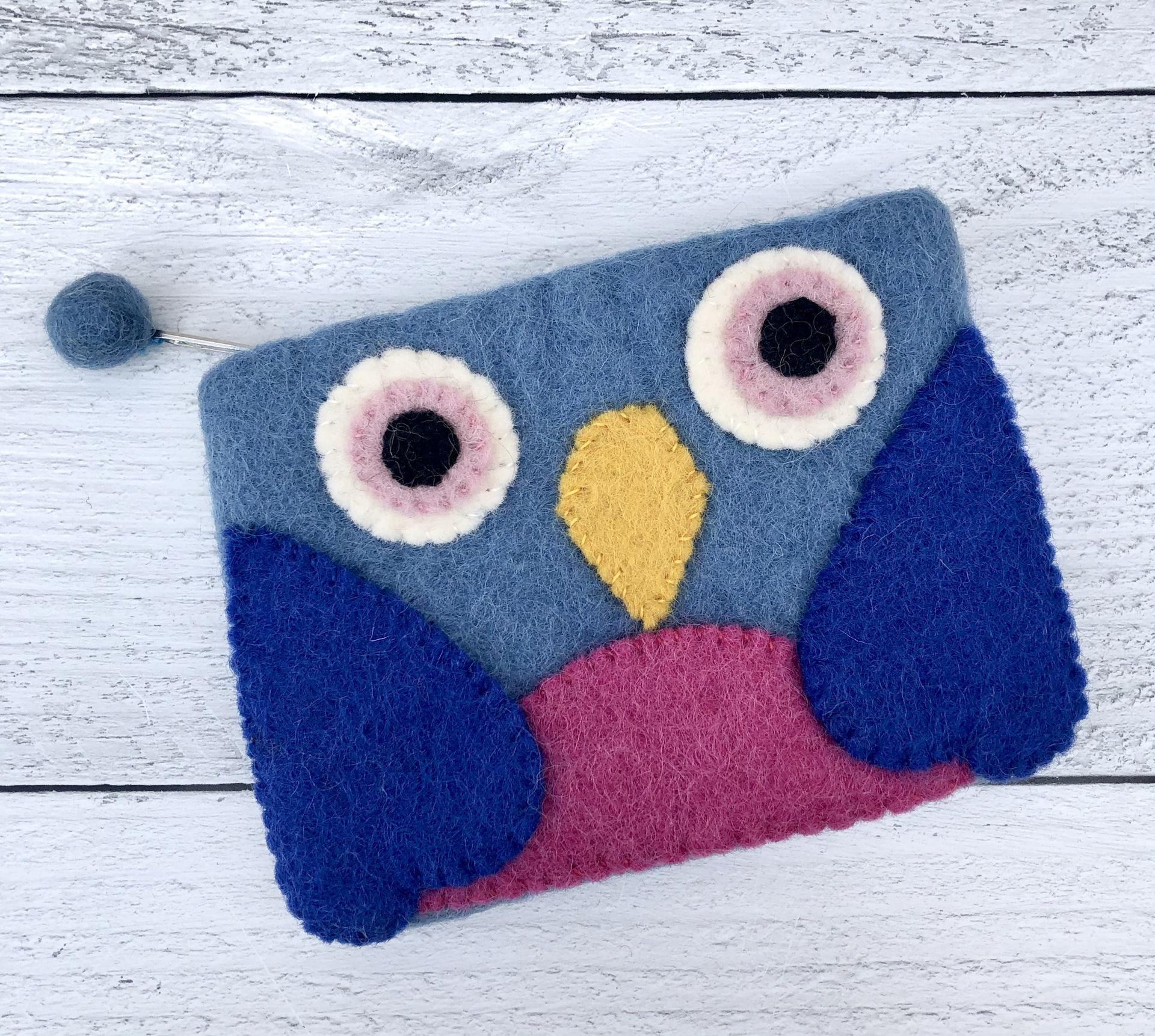 Felt Owl Zippered Pouch--CHOOSE COLOR