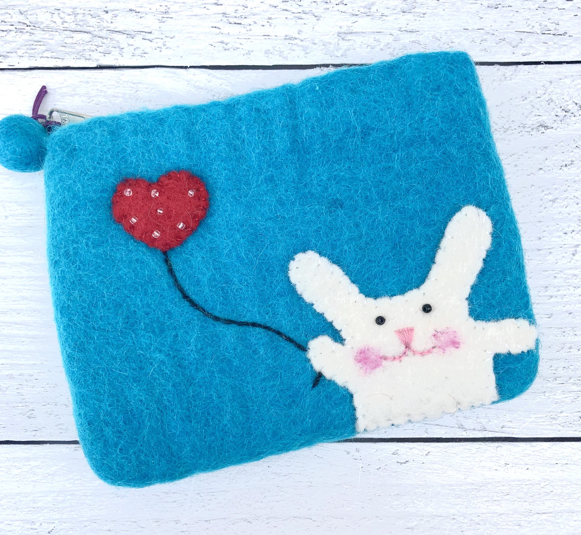 Felt Bunny Zippered Pouch--CHOOSE COLOR