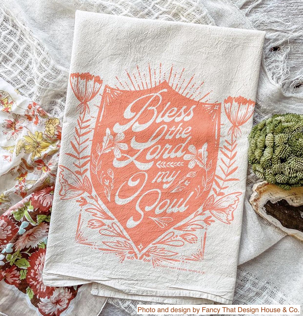 """Bless the Lord O My Soul,"" Hymn Tea Towel"