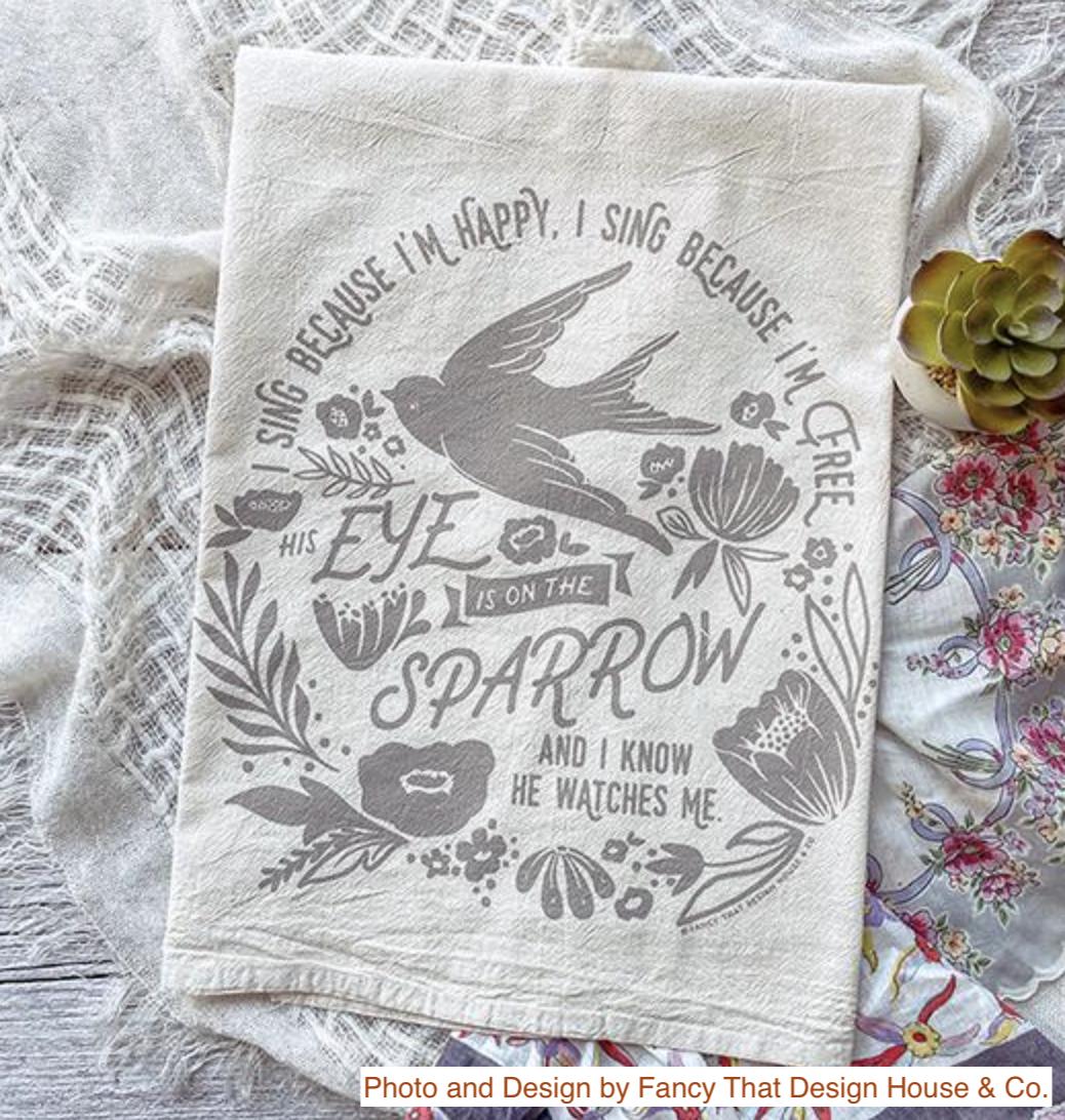 """""""His Eye is on the Sparrow,"""" Hymn Tea Towel"""