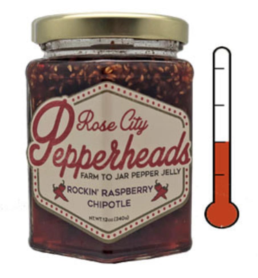 Rockin' Raspberry Chipotle: Rose City Pepperheads Jelly, 12oz