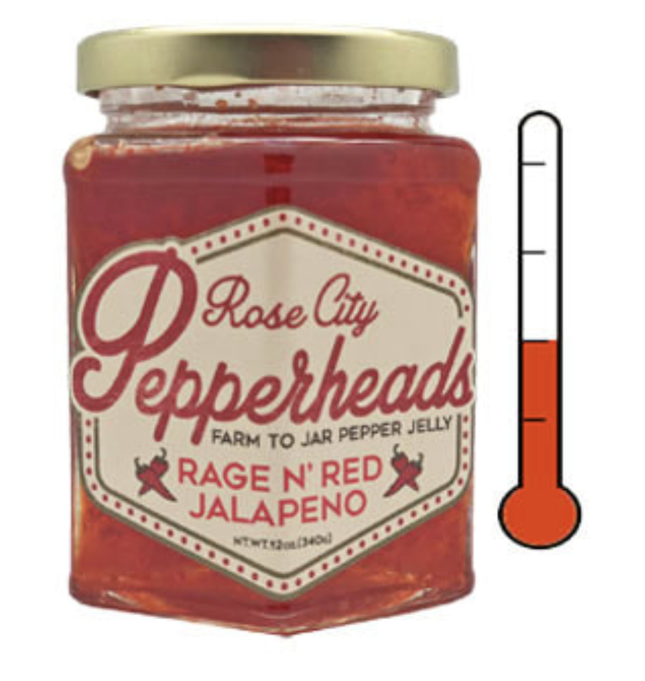 Rage'n Red Jalepeño: Rose City Pepperheads Jelly, 12oz