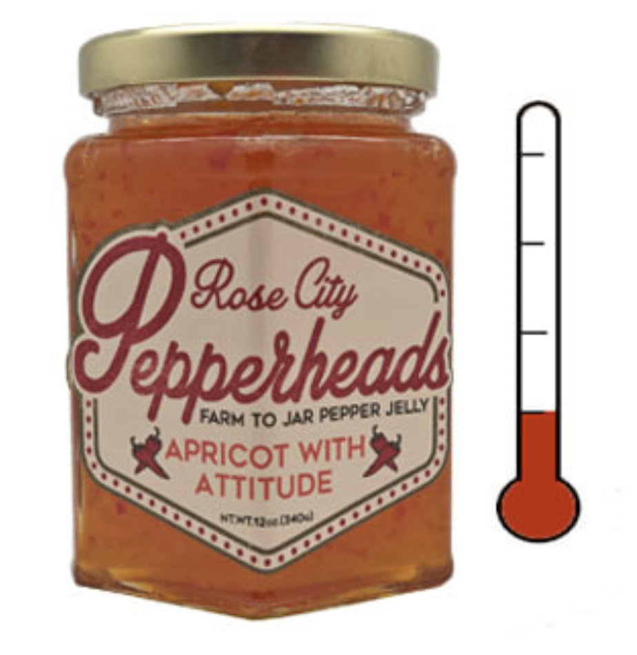 Apricot with Attitude: Rose City Pepperheads Jelly, 12oz