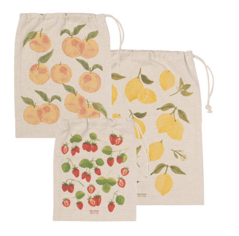 Fruit Salad Reuseable Cotton Produce Bags, set/3