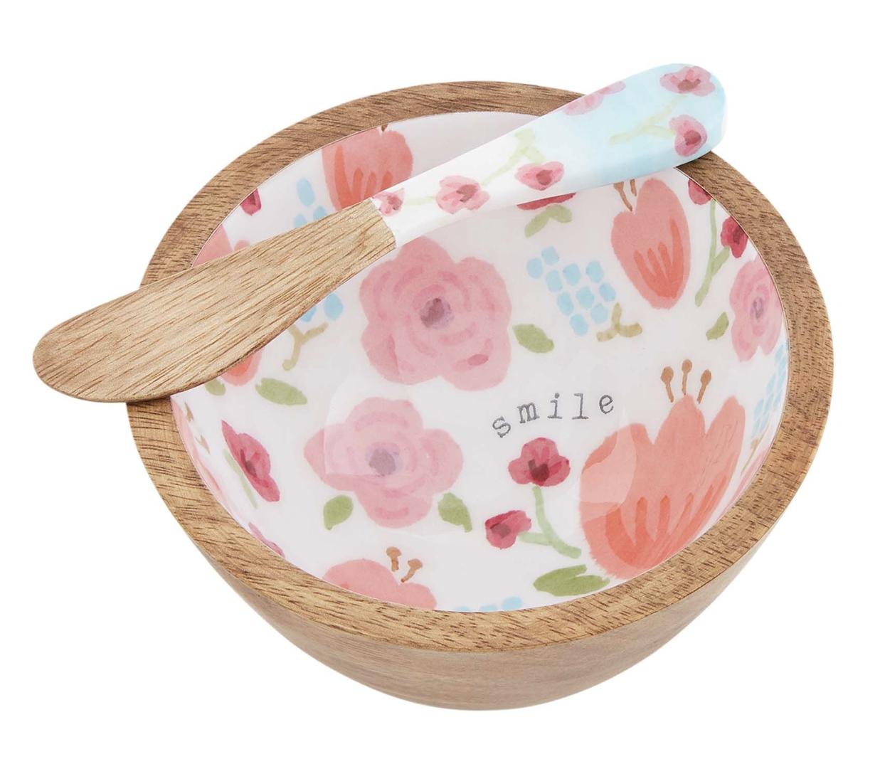Pink Floral Dip Set with Spreader