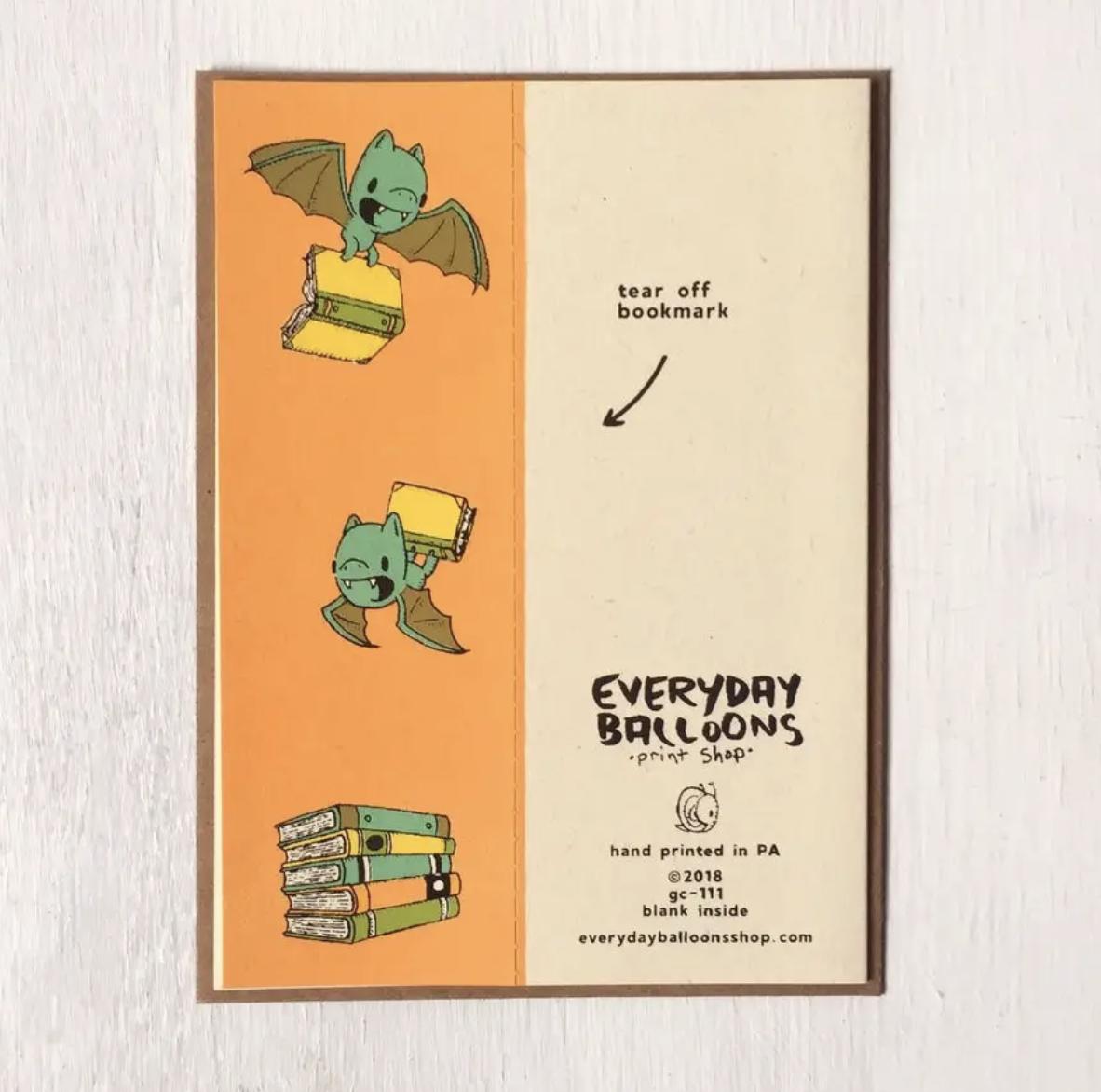 Bat Bookmark Card, Blank Inside