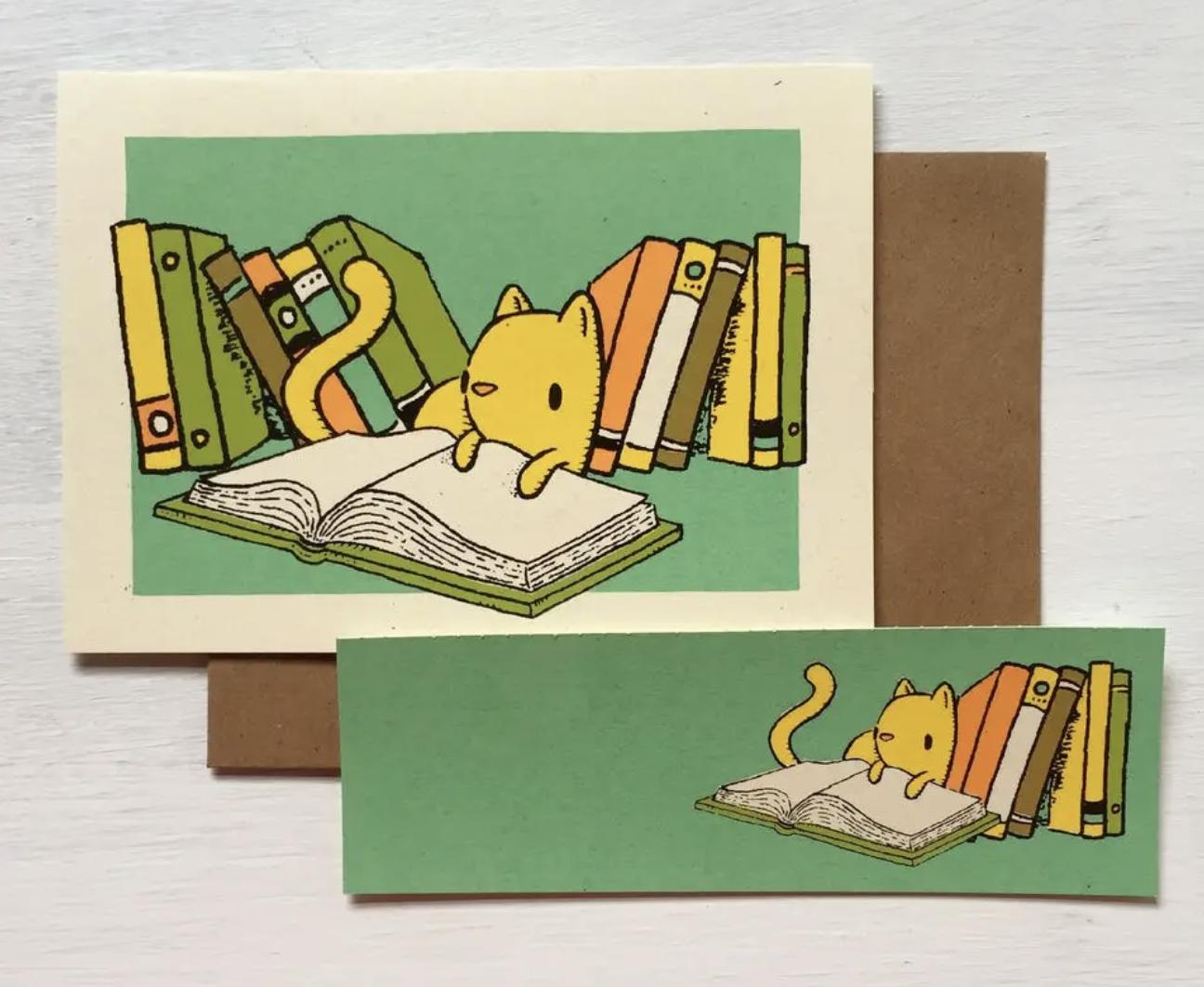 Cat Bookmark Card, Blank Inside