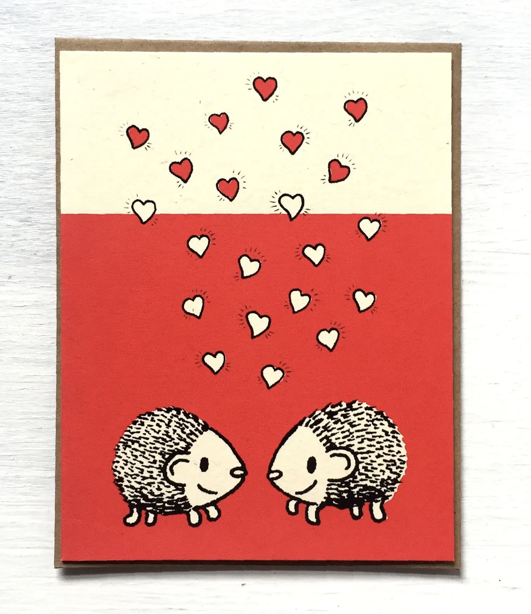 Hedgehogs with Hearts, Blank Greeting Card