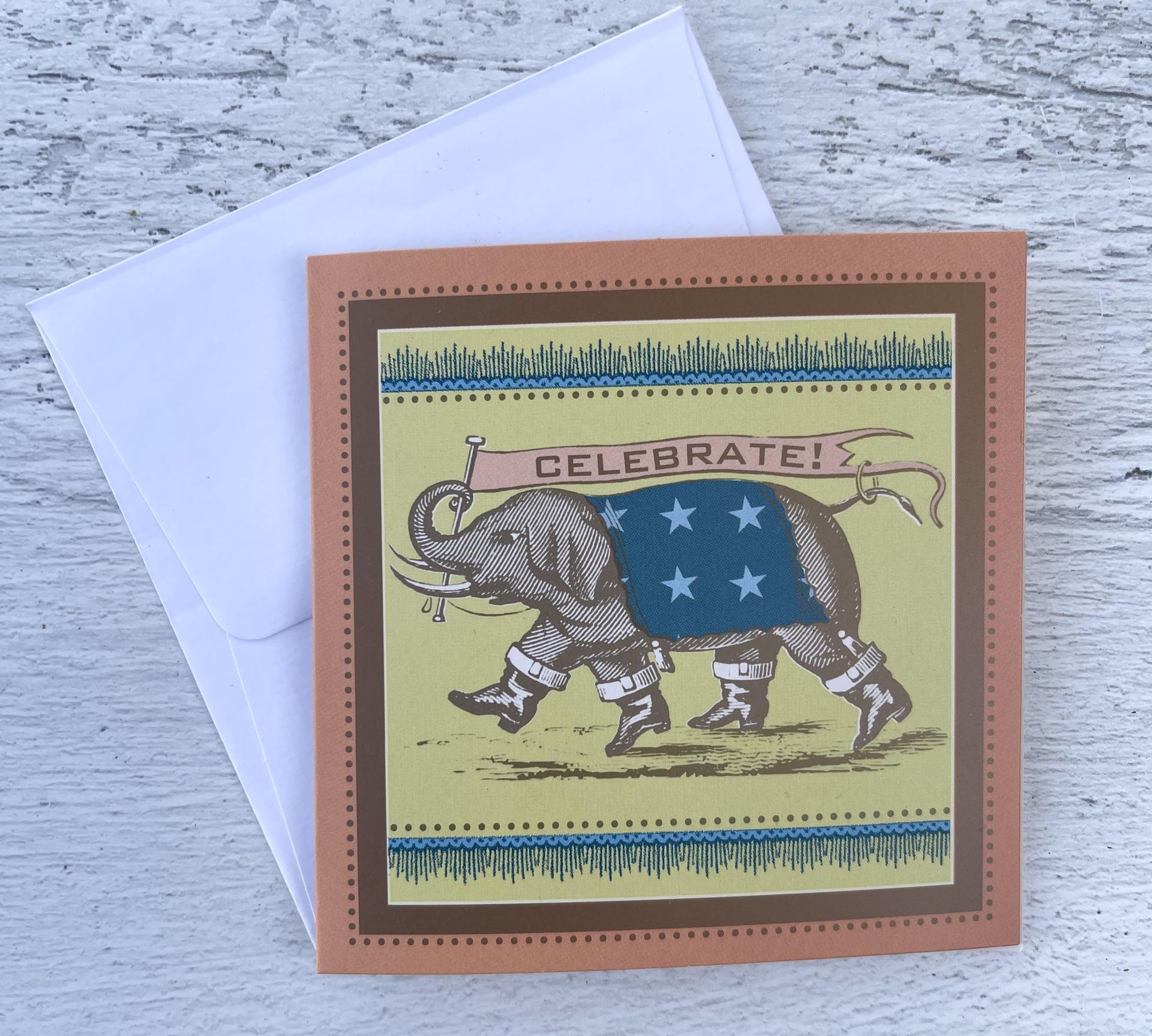 """Elephant """"Celebrate,"""" Mini Card"""