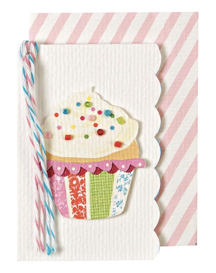 Beaded Cupcake, Mini Card