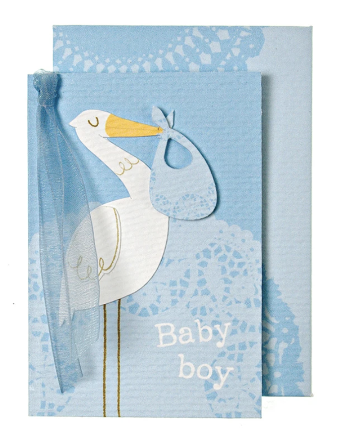 "Blue Stork ""Baby Boy,"" Mini Card"