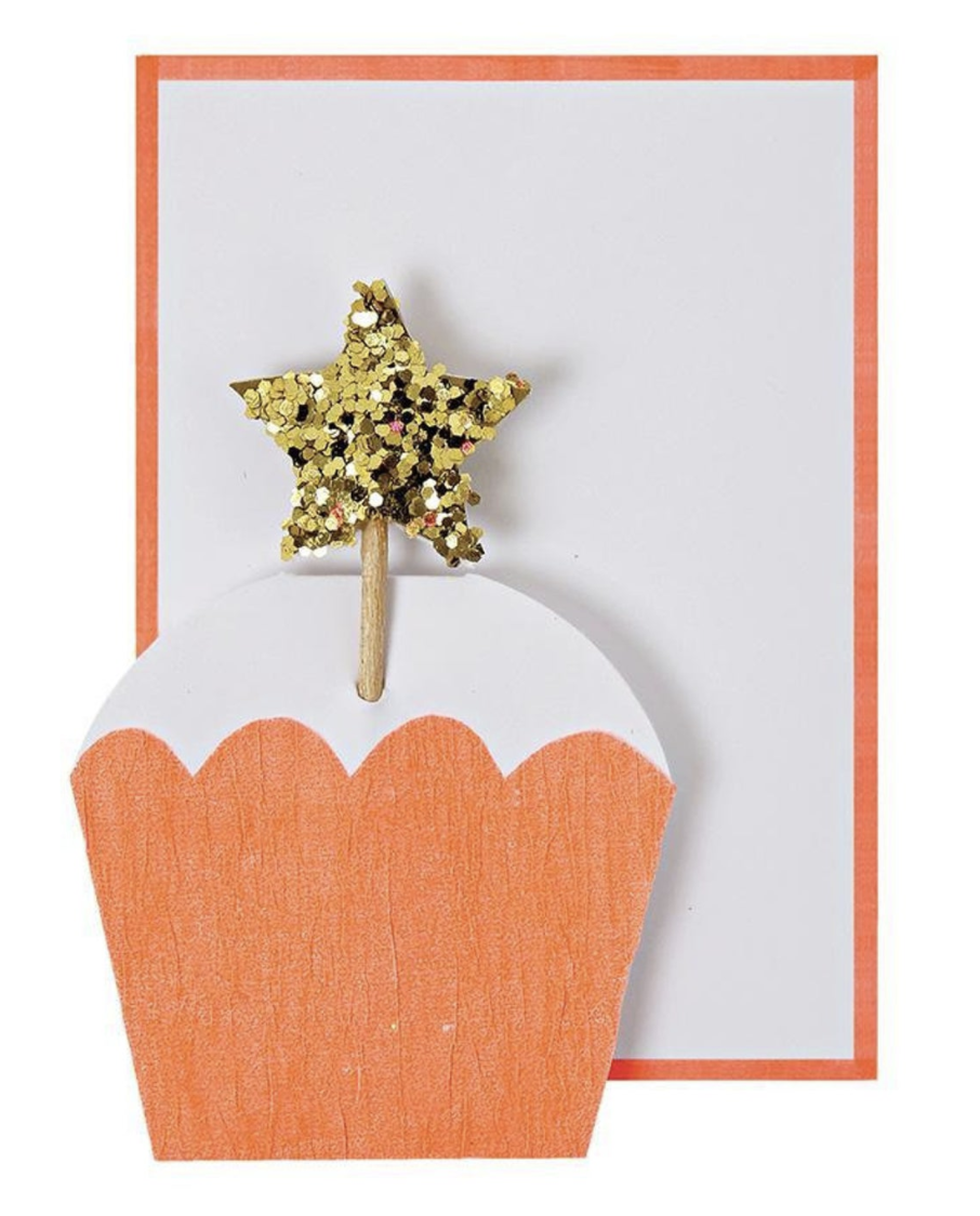 Glitter Star Cupcake, Mini Card