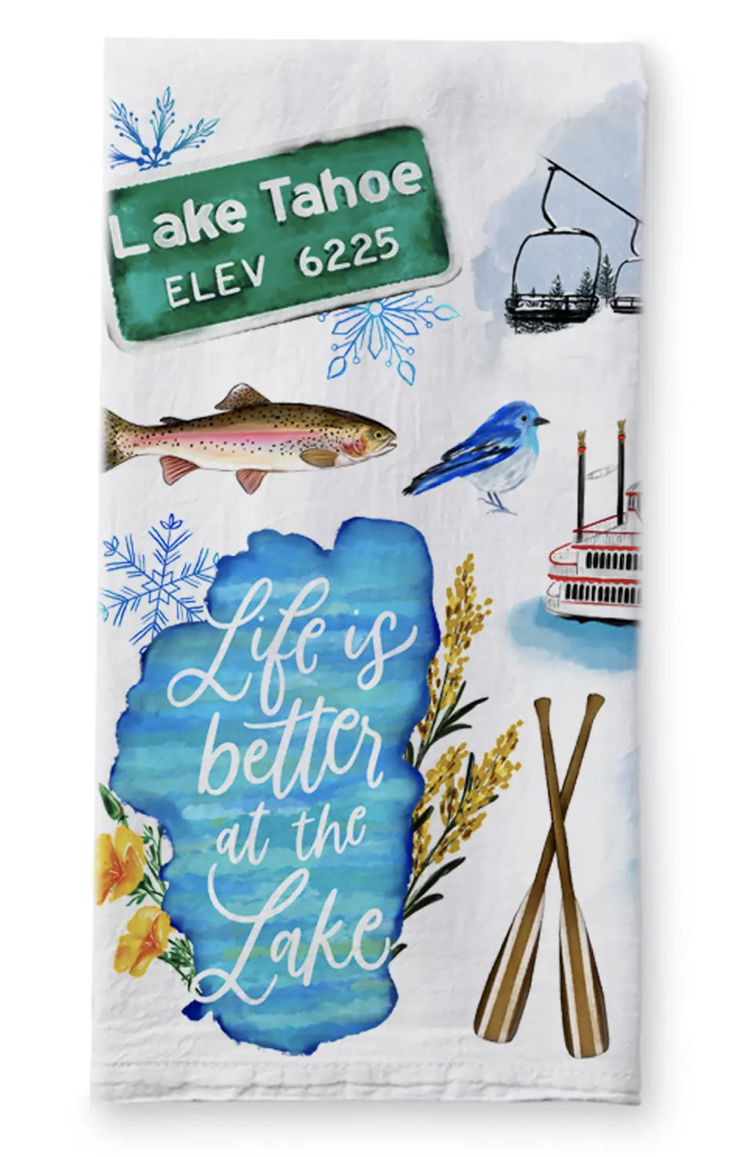 Lake Tahoe Collage, Tea Towel