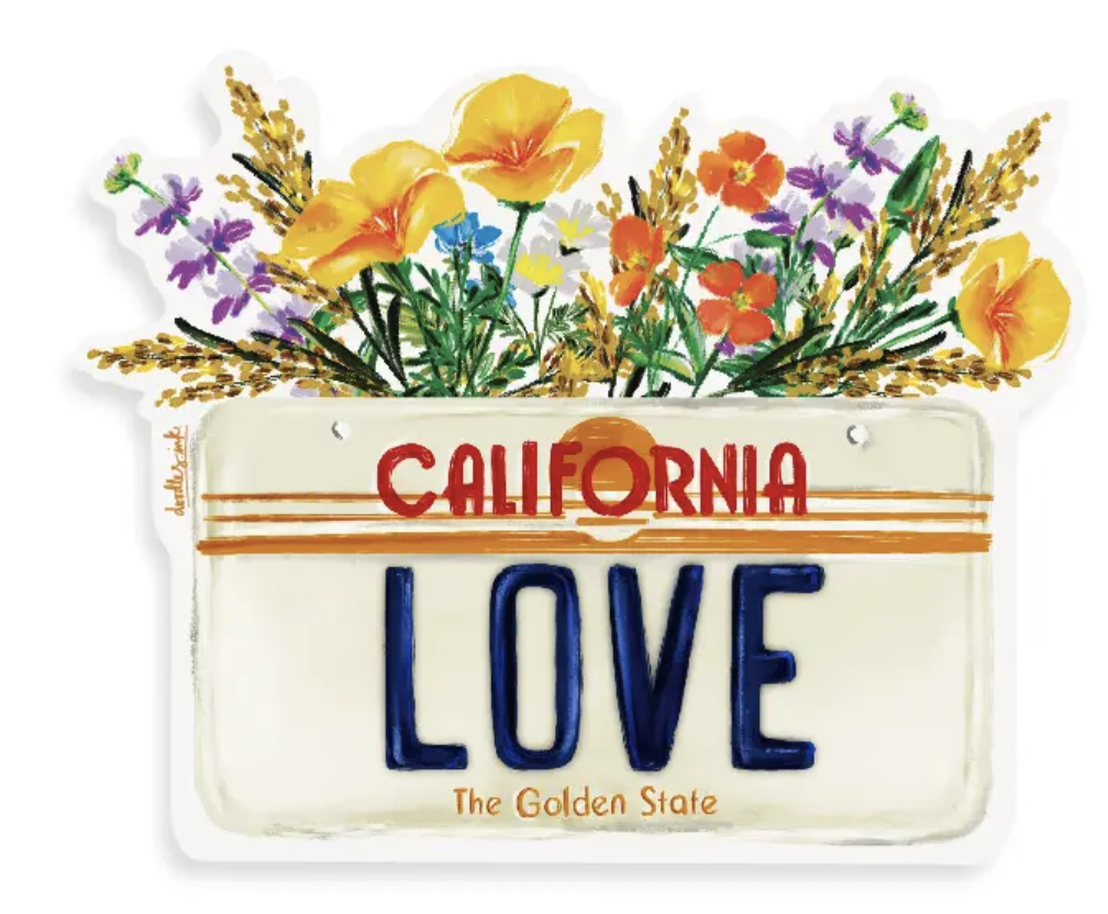 CA License Plate with Wildflowers Sticker