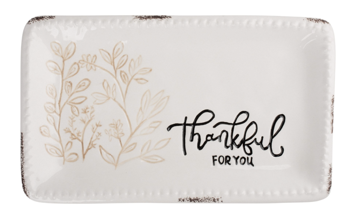 Thankful, Beaded Edge Trinket Dish