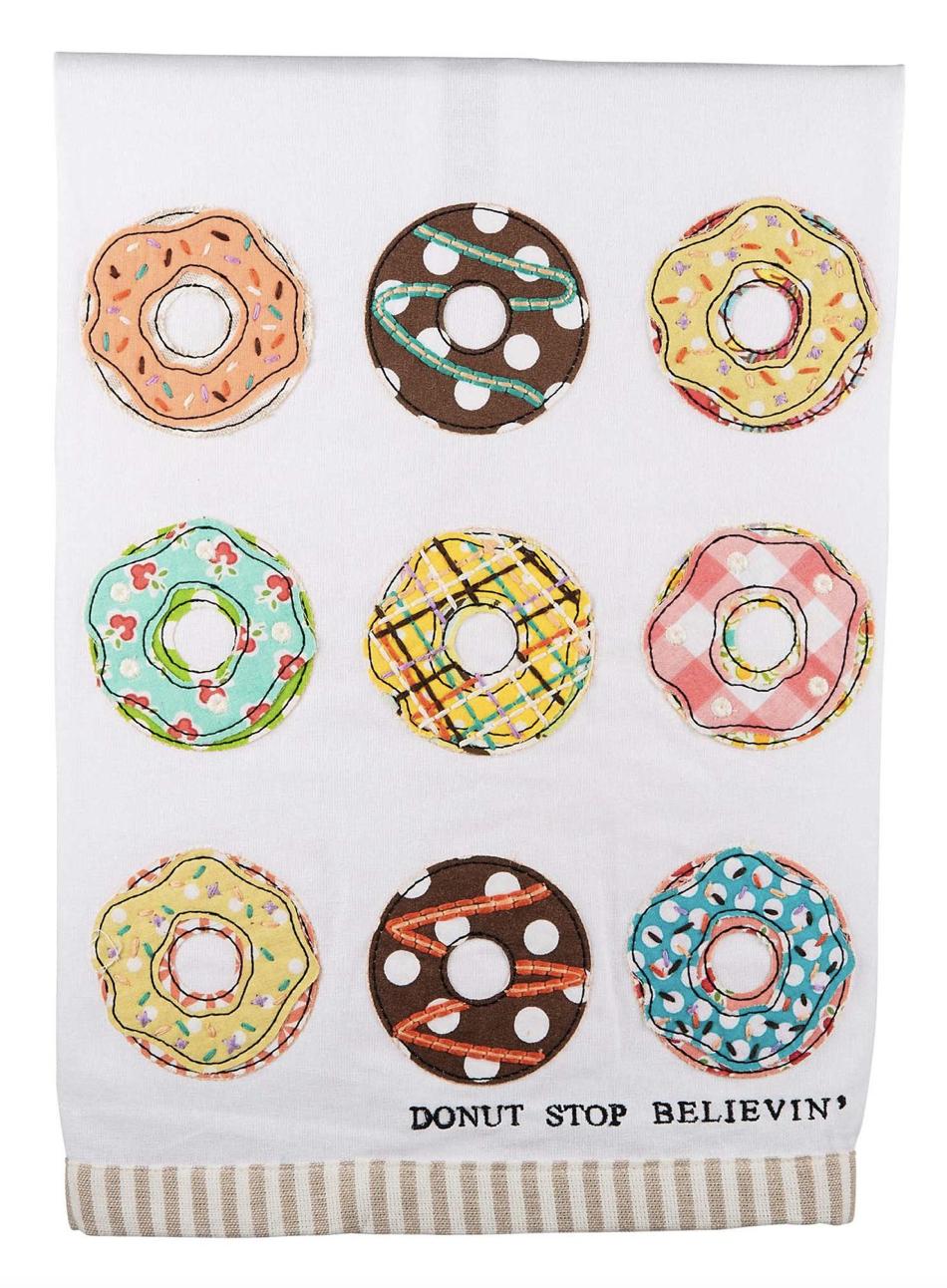 """Donut Stop Believin'"" Embellished Tea Towel"