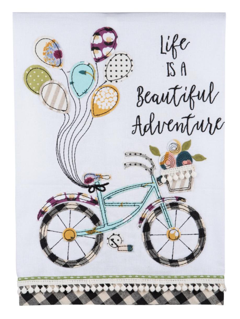 """Life is a Beautiful Adventure,"" Embellished Tea Towel"