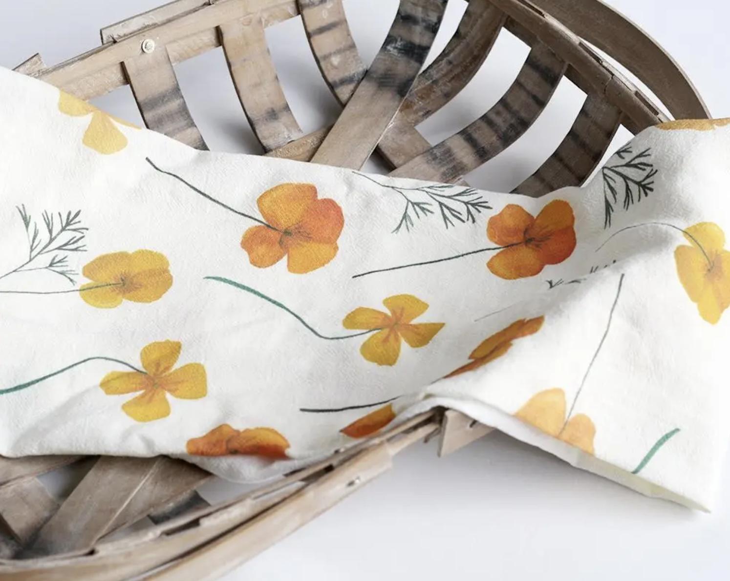 Pressed Poppies Honey Brush Design Tea Towel