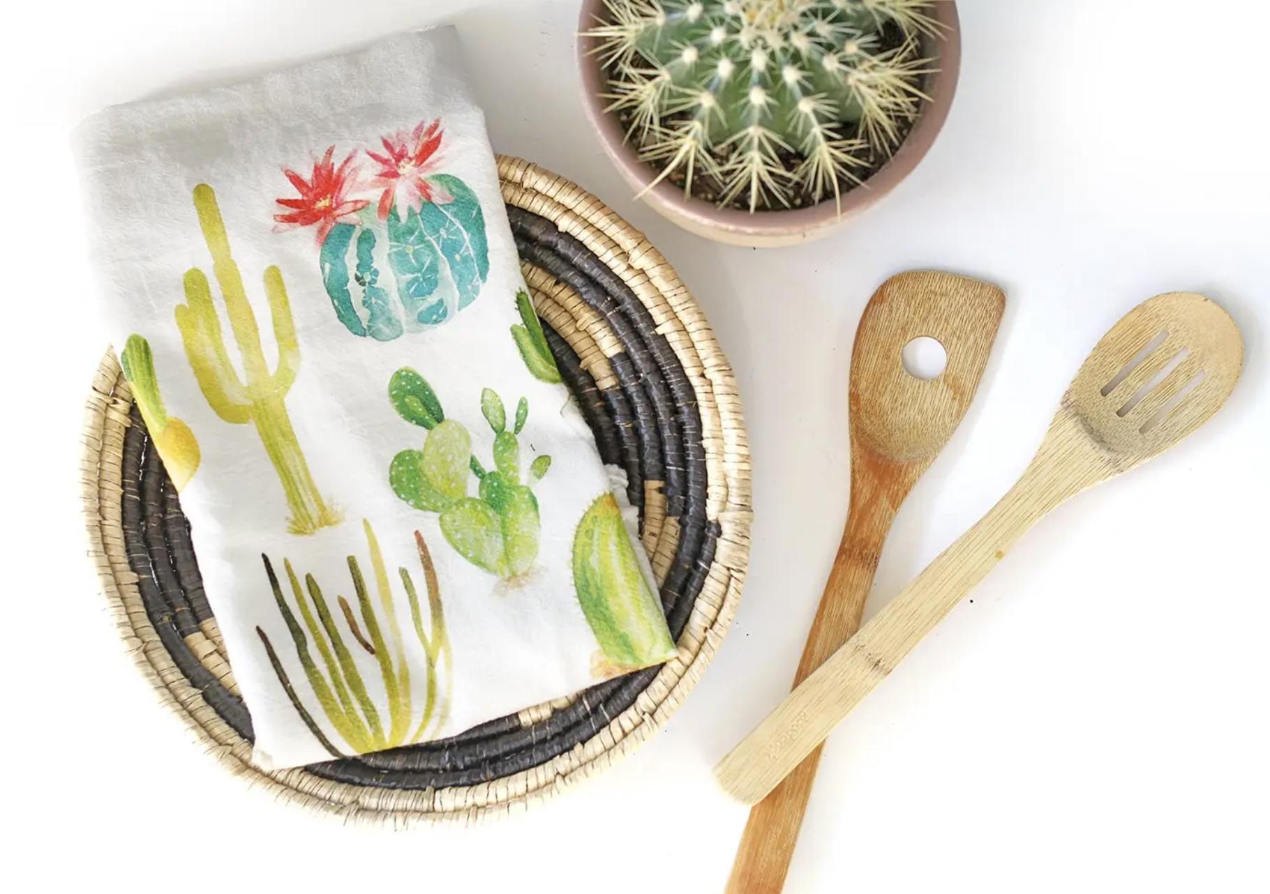 Cactus Honey Brush Design Tea Towel