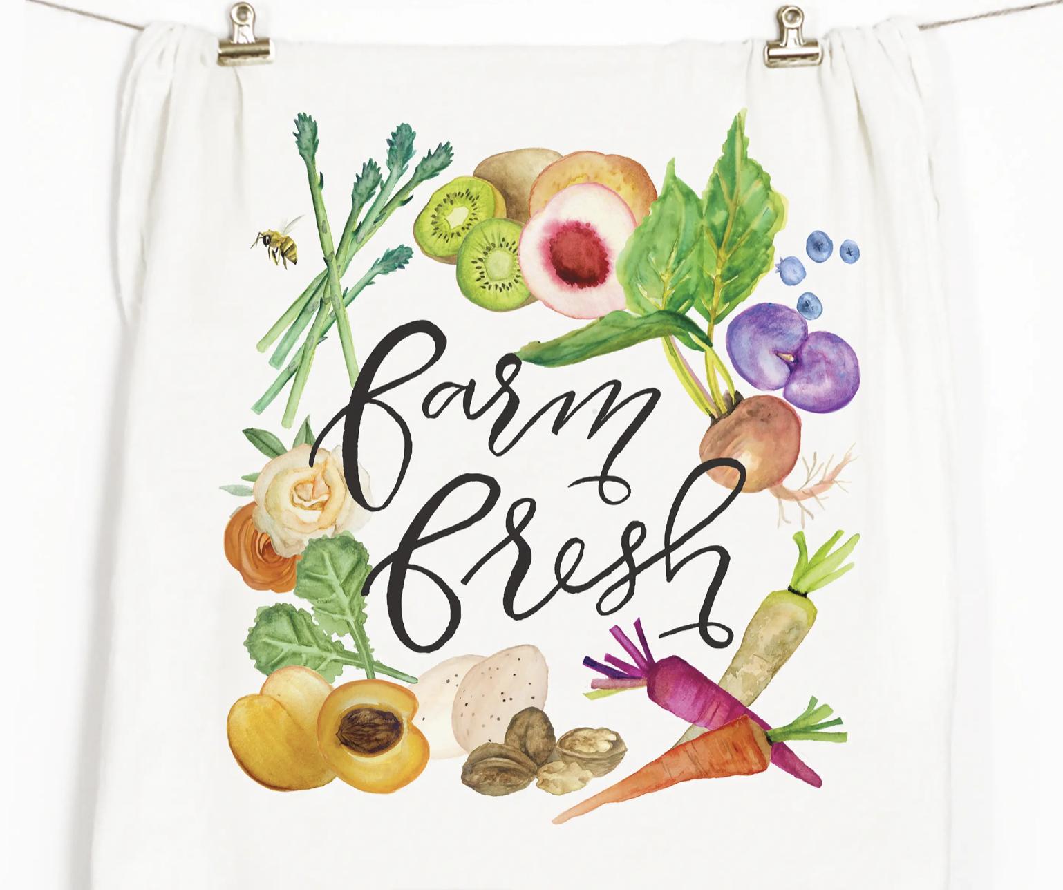 """""""Farm Fresh"""" Honey Brush Design Tea Towel"""
