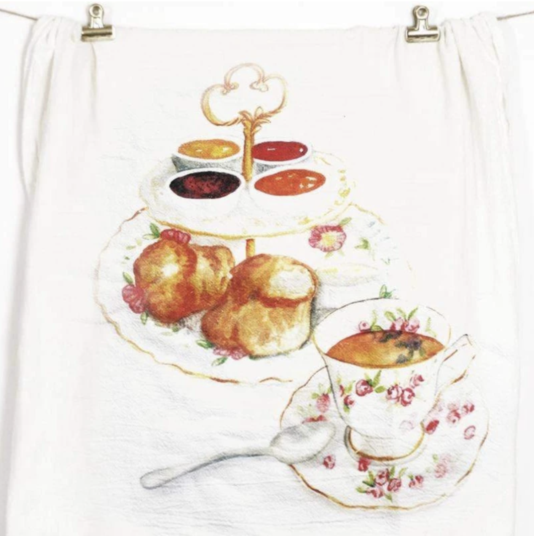 Tea & Cake Honey Brush Design Tea Towel