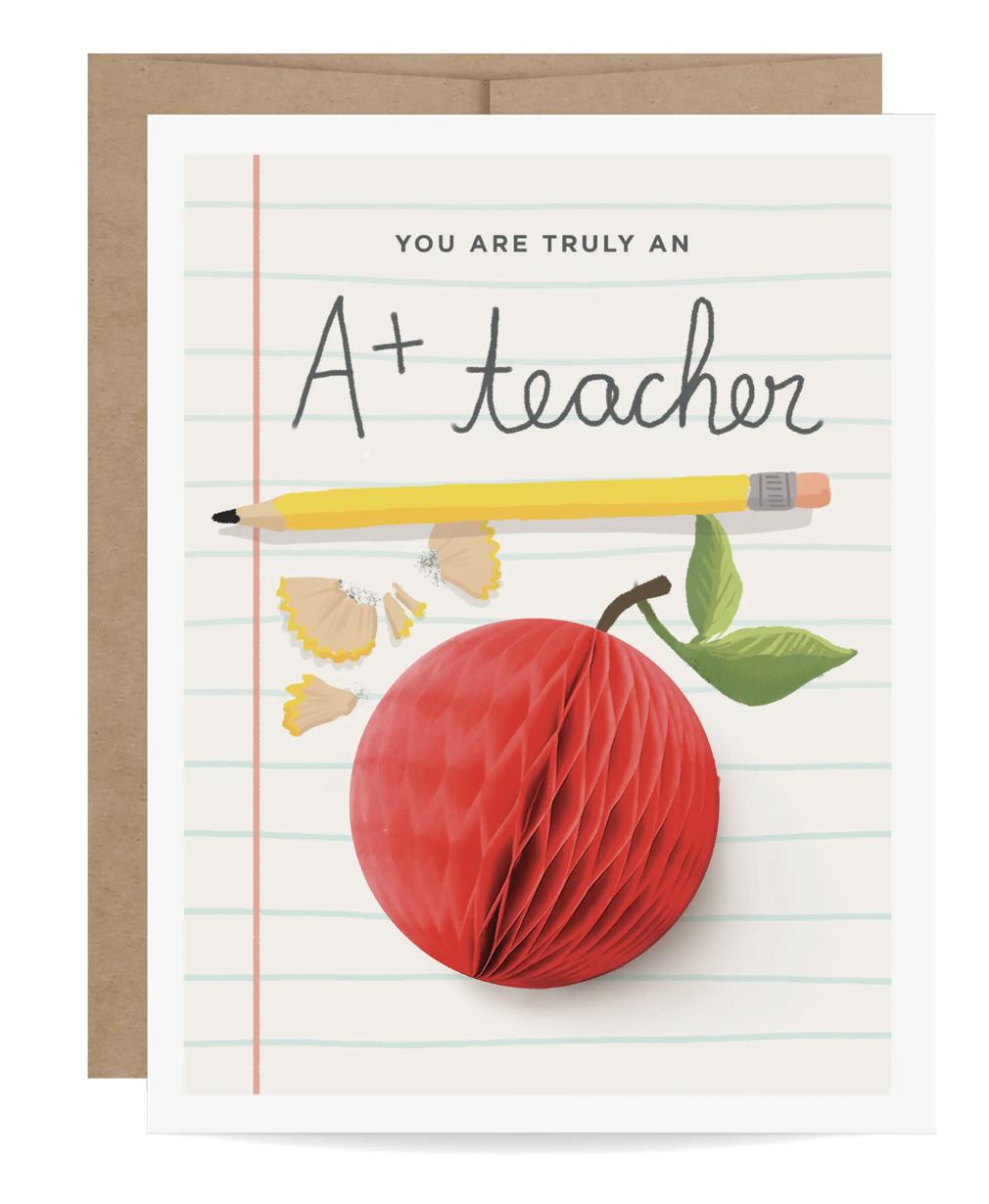 """A+"" Teacher Apple Greeting Card"